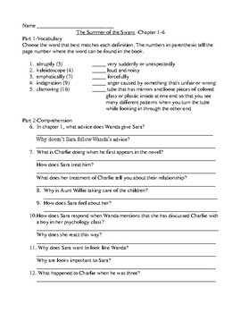 The Summer of the Swans Comprehension and Vocabulary Packet