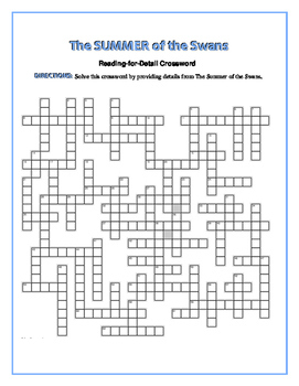 The Summer of the Swans: Reading-for-Detail Crossword—64 Clues!