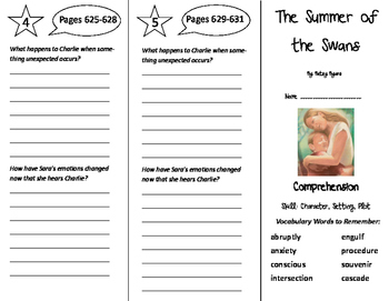 The Summer of the Swans Trifold - California Treasures 6th Grade Unit 6 Week 1