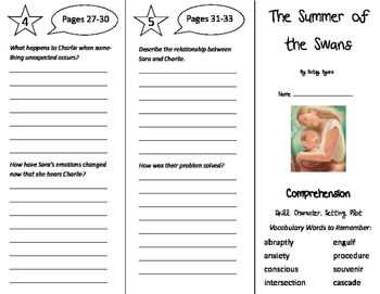 The Summer of the Swans Trifold - Treasures 6th Grade Unit 1 Week 1