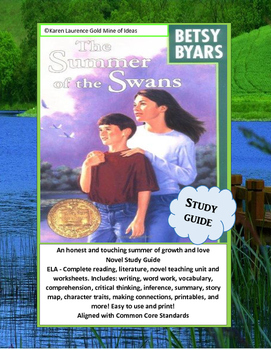The Summer of the Swans by Betsy Byars ELA Novel Study Guide