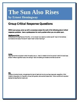 The Sun Also Rises - Hemingway - Group Critical Response Q