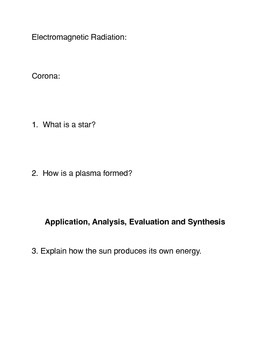 The Sun Common Core Reading and Writing Activity