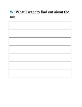 The Sun KWL booklet