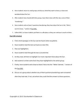 The Sun Mini-Unit: Lesson Plans, Activities, and Assessments