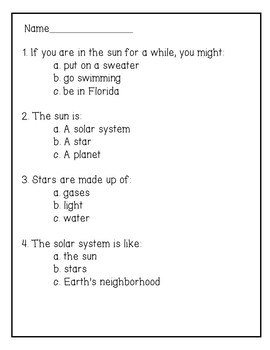 The Sun Reading Comprehension Activity