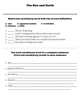 The Sun and Earth Worksheet
