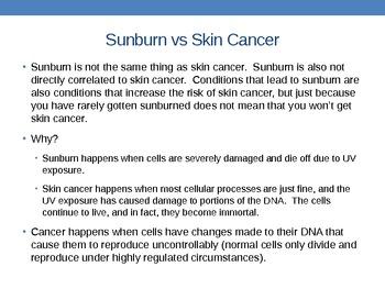 The Sun and Your Skin: Sunburn and Skin Cancer