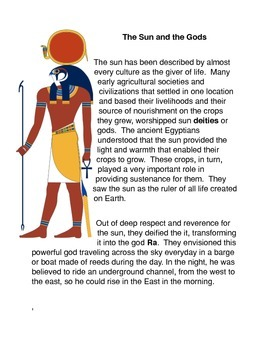 The Sun and the Gods Common Core Science Activities