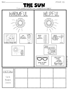 The Sun's Properties: {Harmful and Helpful} Science Sorting Page First Grade