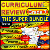 7th Grade Math Curriculum Review/ Grade 7 End of the Year Review Bundle