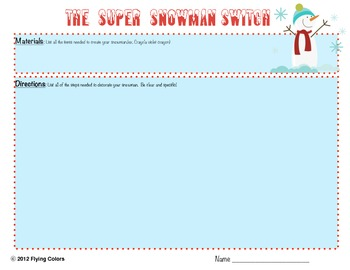 The Super Snowman Switch -Writing a Set of Directions WINTER