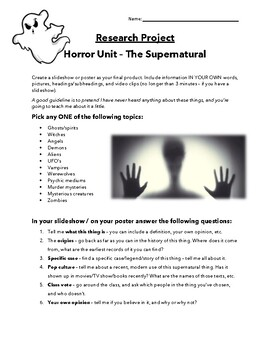 The Supernatural - Research Project