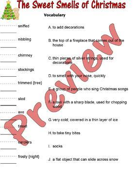 The Sweet Smells of Christmas : Reading Comprehension Book Study Packet 15p