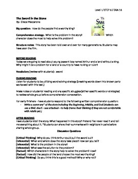 The Sword in the Stone Guided Reading Lesson Plan - Level I