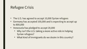 The Syrian Refugee Crisis PowerPoint, Completed Notes, and Discussion Questions