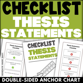 The THESIS STATEMENT CHECKLIST Bookmark-Style Thesis Statement Anchor Chart