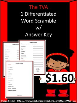 The TVA- Differentiated Word Scramble w/ Answer Key