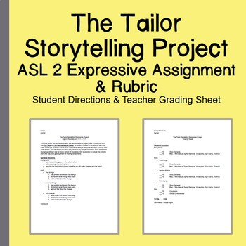 The Tailor Storytelling Project Directions Grading Sheet