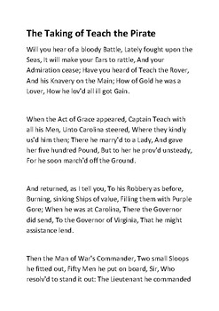 The Taking of Teach the Pirate by Benjamin Franklin  Handout