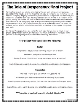 The Tale of Despereaux Assessment Packet-5 Quizzes & Final Project