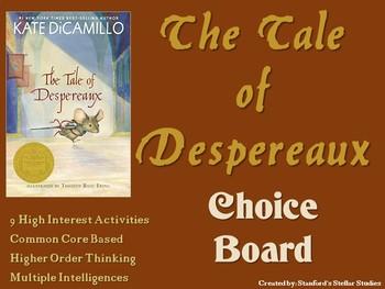 The Tale of Despereaux Choice Board Novel Study Activities Menu Book Project