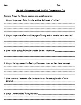 The Tale of Despereaux by Kate DiCamillo: Comprehension Quizzes / Test