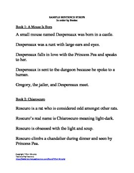 The Tale of Despereaux: Comprehension Reading Strategy-- SCRAMBLED SCHEMA