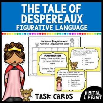 The Tale of Despereaux Figurative Language Task Cards (color & B/W versions)