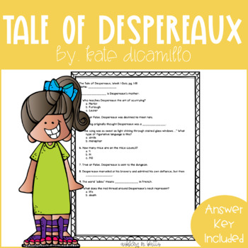 The Tale of Despereaux Quick Comprehension Quiz Checks