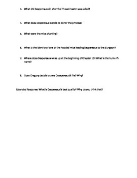 The Tale of Despereaux Reading Study Guide Chapters 9-15