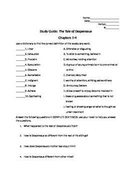 The Tale of Despereaux Reading Study Guide Chapters 1-4