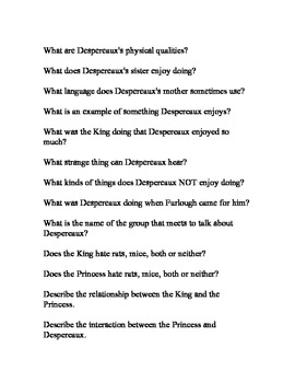 The Tale of Despereaux Review Questions