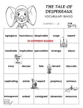 The Tale of Despereaux Vocabulary Bingo