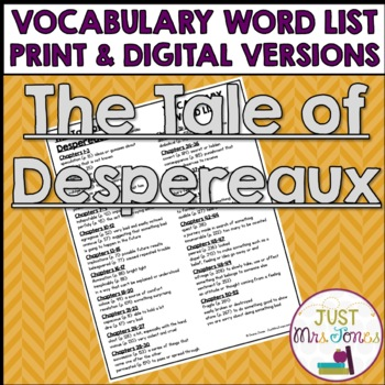 The Tale of Despereaux Vocabulary Word List