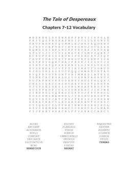 The Tale of Despereaux Vocabulary Word Search for Ch. 7-12