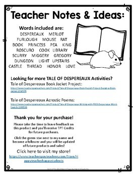 FREE! The Tale of Despereaux Word Search