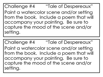 The Tale of Despereaux, by K. DiCamillo, 10 Project Challenges