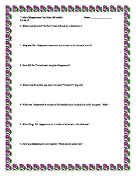 The Tale of Despereaux, by K. DiCamillo, Comprehension Questions
