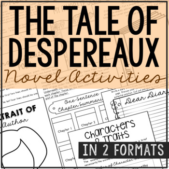 The Tale of Despereaux Interactive Notebook Novel Unit Study Activities, Project