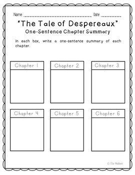 The Tale of Despereaux Novel Unit Study Activities, Book Companion Worksheets
