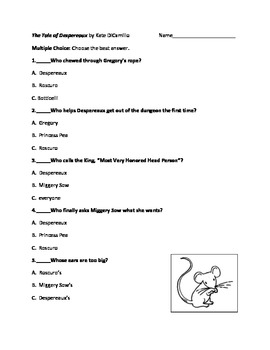 The Tale of Despereaux by Kate DiCamillo Objective Test