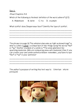 The Tale of Despereaux (for use in Guided Reading or Literature Circles)