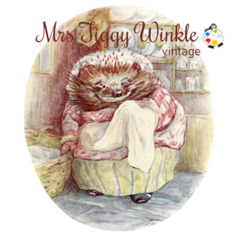 The Tale of Mrs Tiggy Winkle Vintage Clipart Illustrations