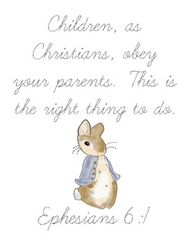 The Tale of Peter Rabbit Bible Verse Printable (Ephesians 6:1)