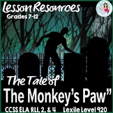 The Monkey's Paw Short Story Fun & Scary CCSS ELA Lesson