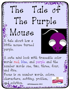 The Tale of the Purple Mouse: Color & Number Word Recognition, Great for TK or K