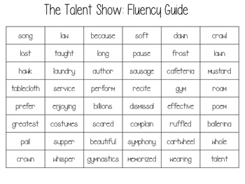 The Talent Show Fluency Cards
