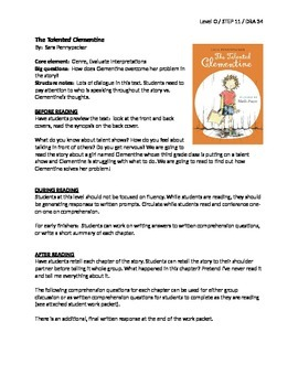 The Talented Clementine Guided Reading LP + Student Work Packet - Level O