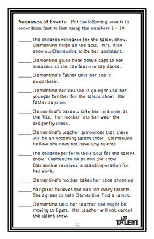The Talented Clementine (Sara Pennypacker) Novel Study / Comprehension  (28 pgs)